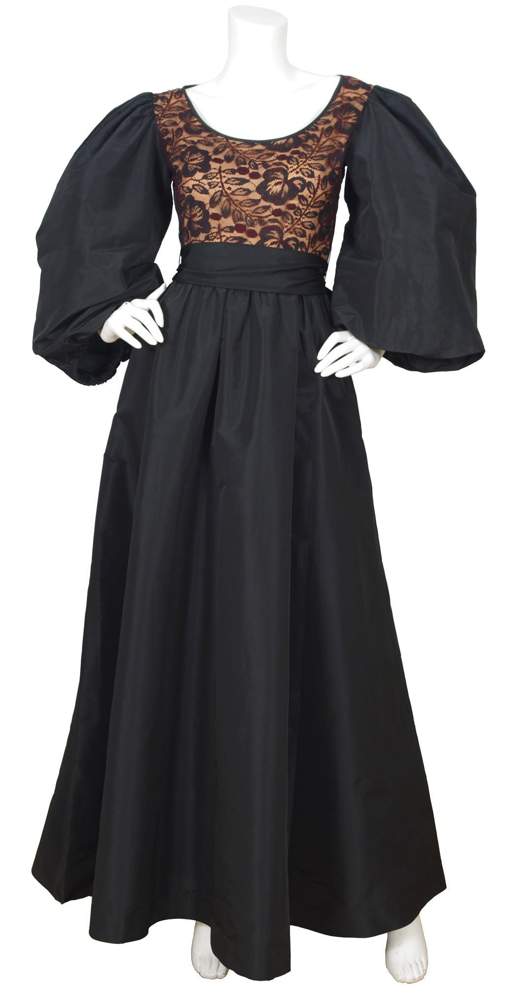 1970s Dramatic Balloon Sleeve Black Taffeta & Lace Gown