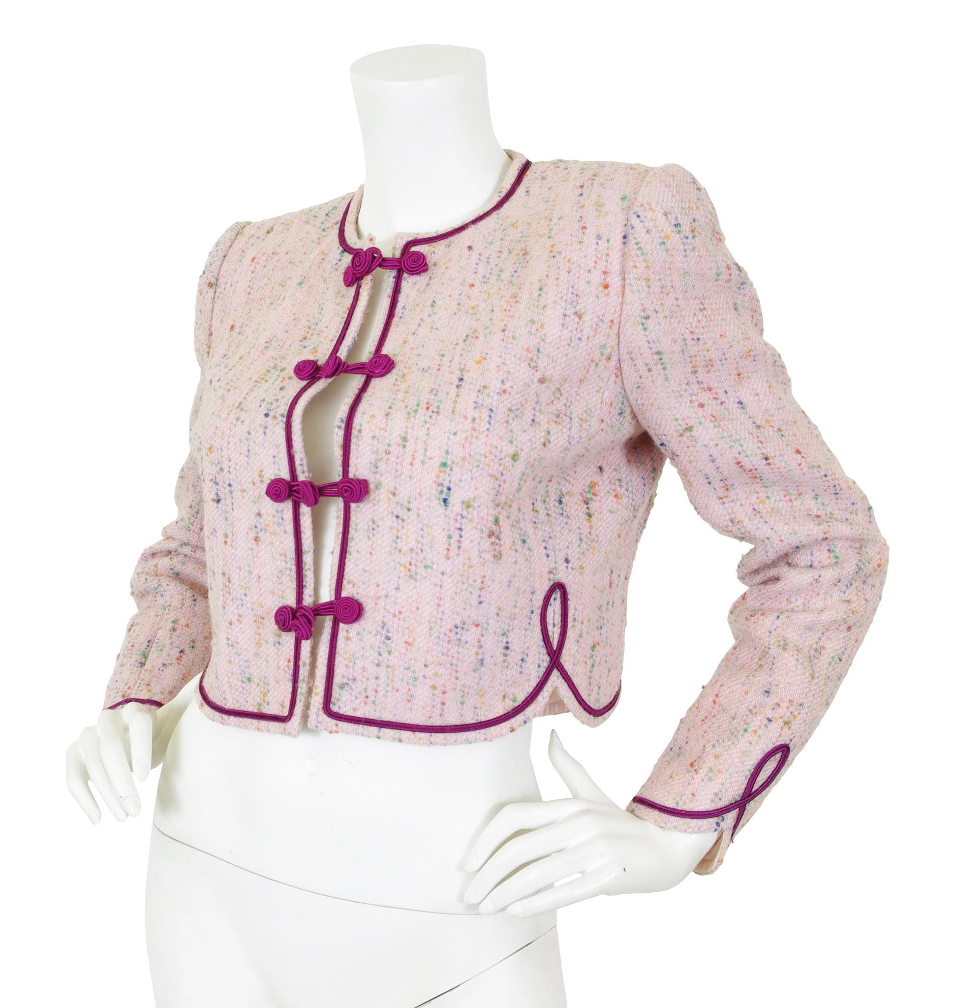 1970s Pink Bouclé Scalloped Hem Jacket