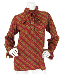 c. 1978 Plaid Silk Ruffle Blouse and Pleated Skirt Ensemble