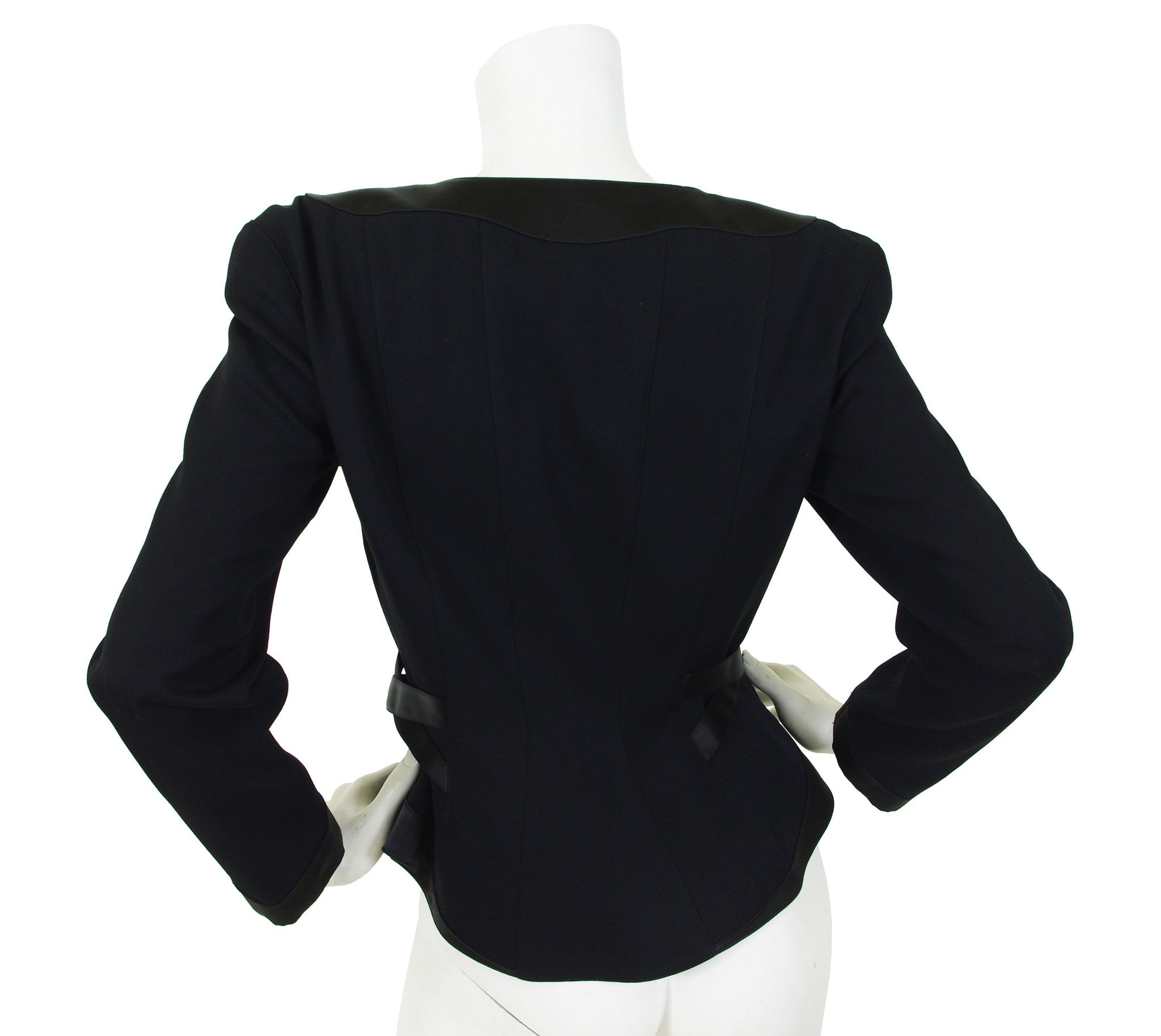 1980s Black Wool & Satin Trim Blazer