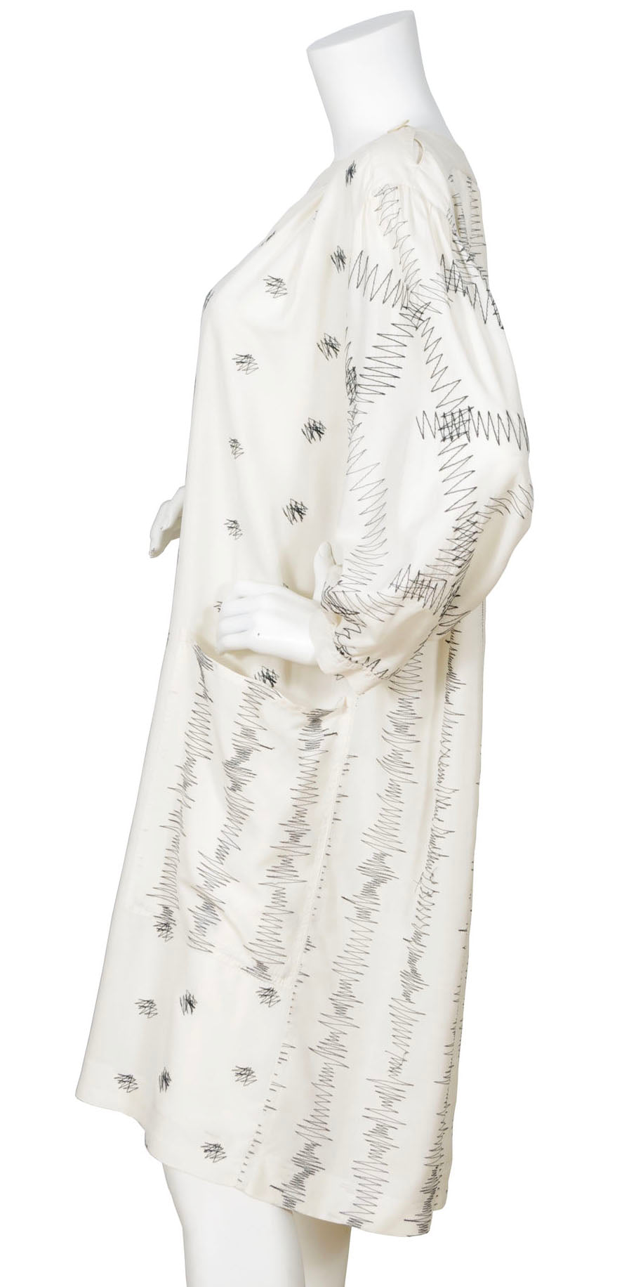 1970s Cream Silk Embroidered Zig-Zag Smock Dress