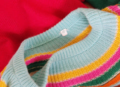 1982 Documented Rainbow Color Block Cotton Knit Sweater