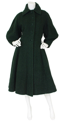 Early 1950's Iconic Lantern Sleeve Dark Green Wool Coat