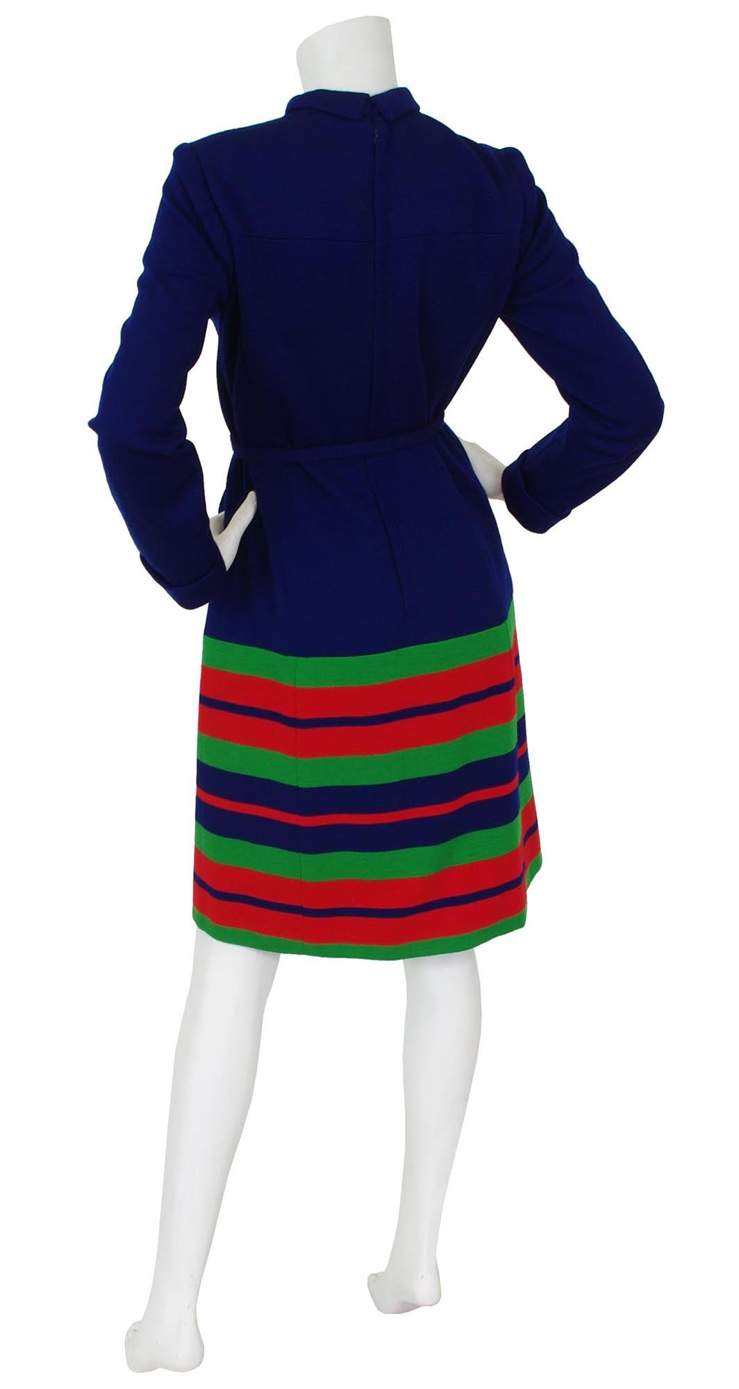1973 United Airlines Design Mod Striped Navy Wool Jersey Dress