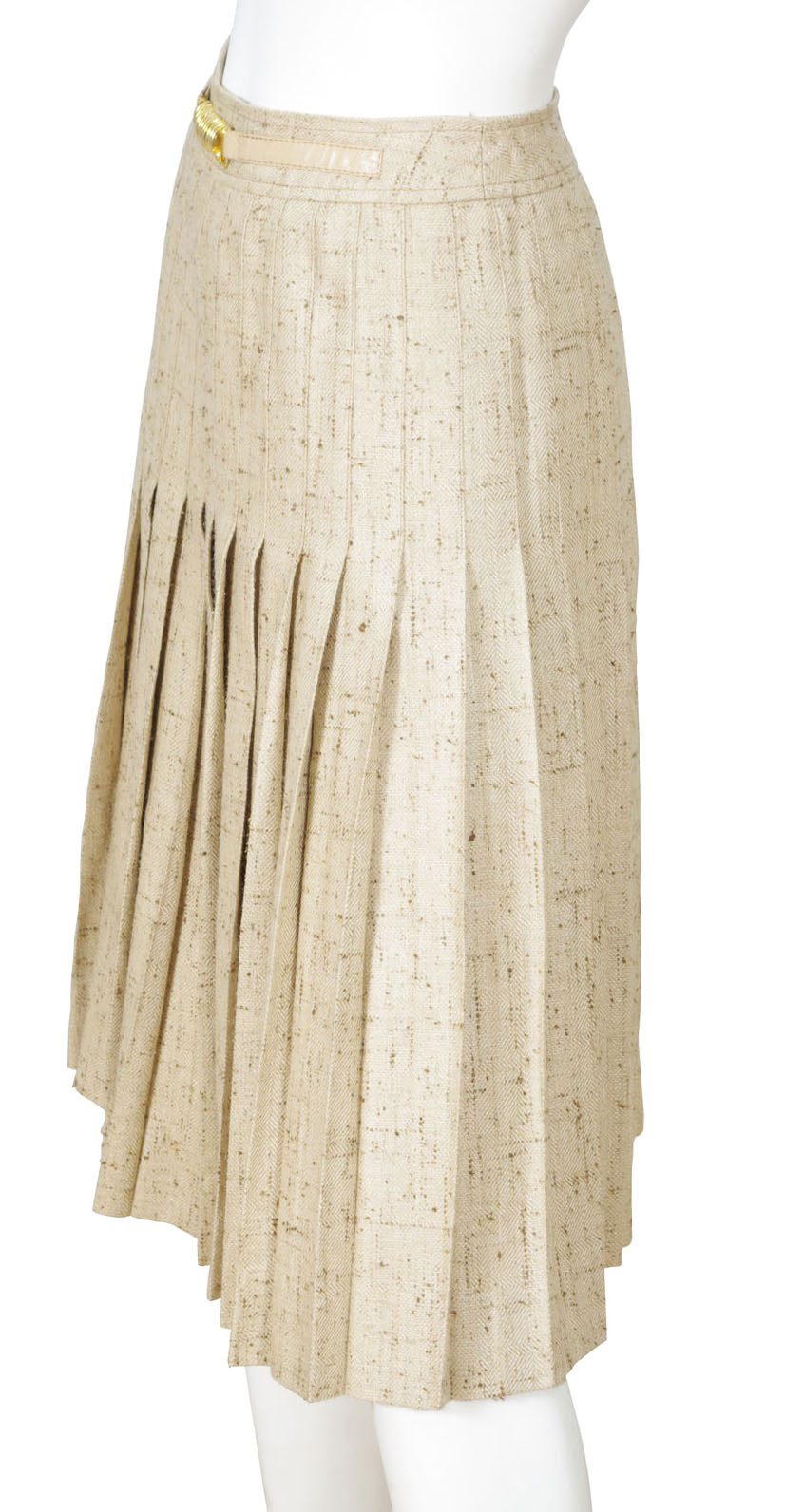 1970s Beige Silk Jacket & Pleated Skirt Suit