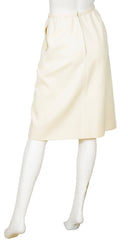 1970s Cream Wool Knee Length Skirt