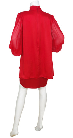 1980s Couture Red Silk Billowing Sleeve Dress