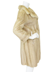1960's Genuine Blonde Mink Fur Coat