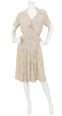 1970s Floral Silk Lace Inset Dress by Karl Lagerfeld