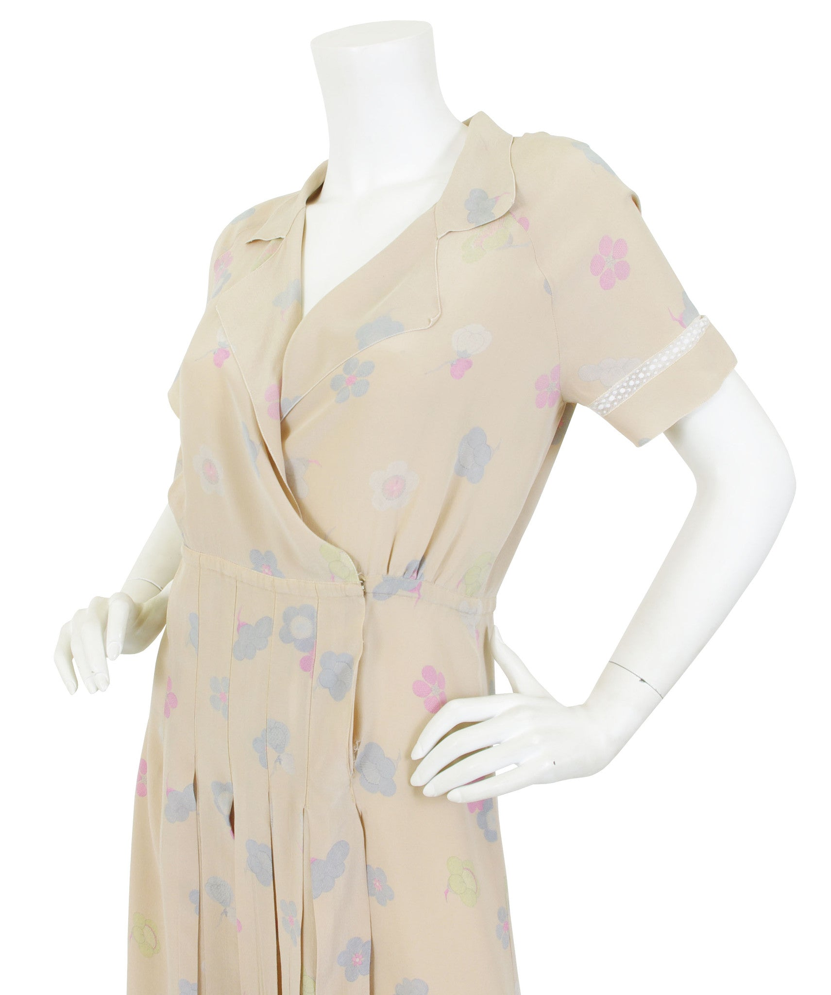 1970's Floral Silk Lace Inset Dress by Karl Lagerfeld