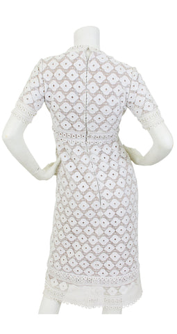 1960s White Floral Eyelet Sheer Illusion Dress