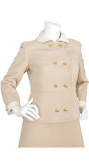 1960s Mod Beige & Cream Mini Dress Set