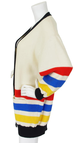 1980's Oversized Cream Striped Wool & Angora Cardigan
