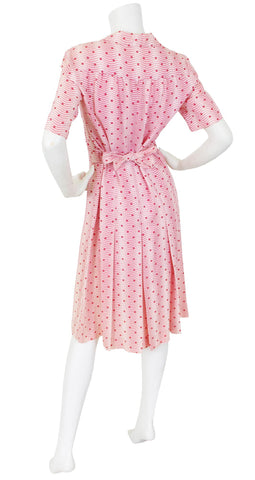 1970s Pink Polka-Dot Crepe Shirt Dress