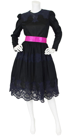 1970s Black Crochet Lace Pink Bow Full Skirt Evening Dress