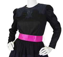 1970's Black Crochet Lace Pink Bow Full Skirt Evening Dress