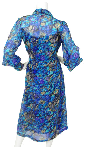 1970's Silk Chiffon Paint Splatter Dress
