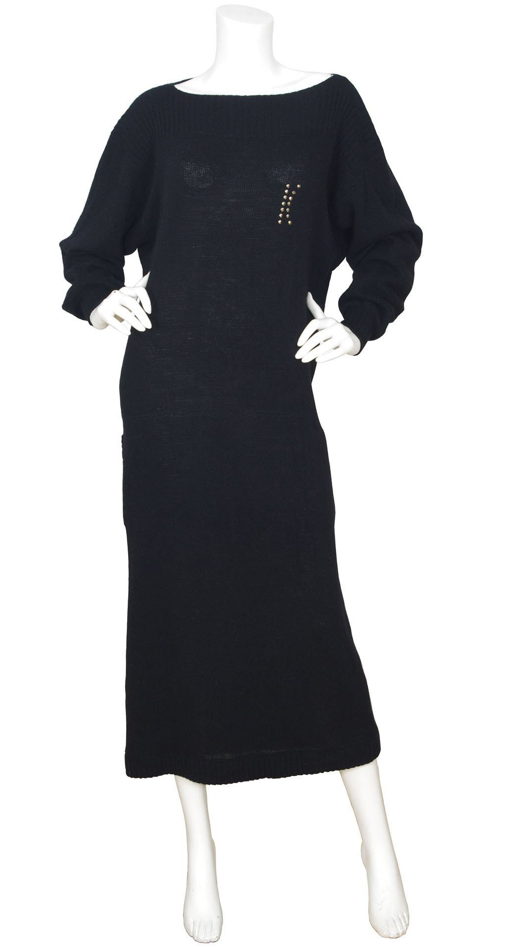 "1983 Documented ""K"" Black Angora Sweater Dress"