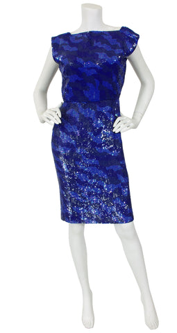 1980s Blue Sequin Backless Evening Dress
