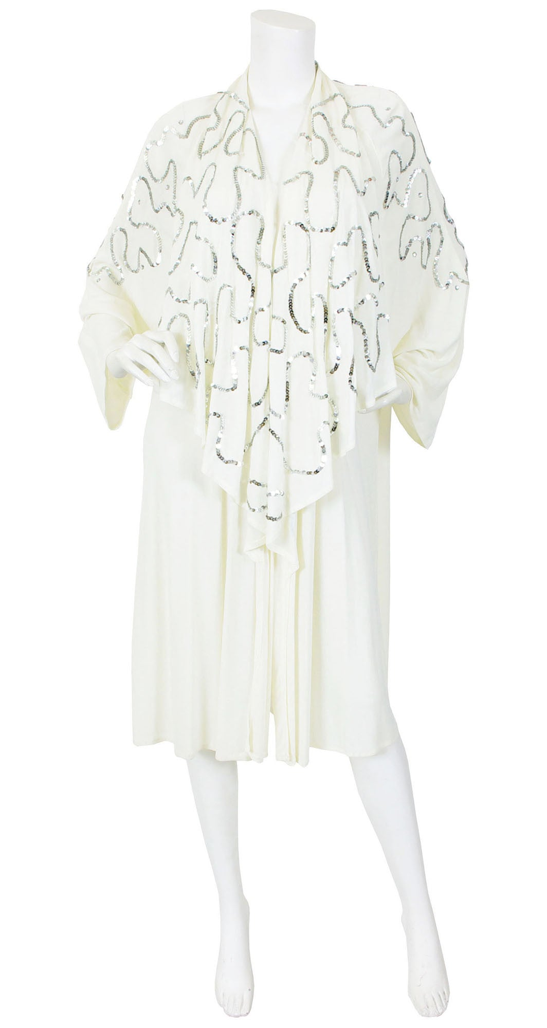 1970's Silver Sequin Draped White Jersey Jacket
