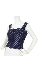 Boutique Navy Polka-Dot Scalloped Hem Tank Top