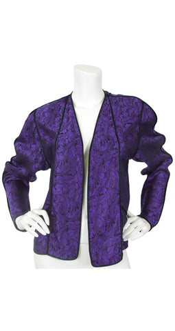 1970's Purple Leaf Silk Blouse Jacket
