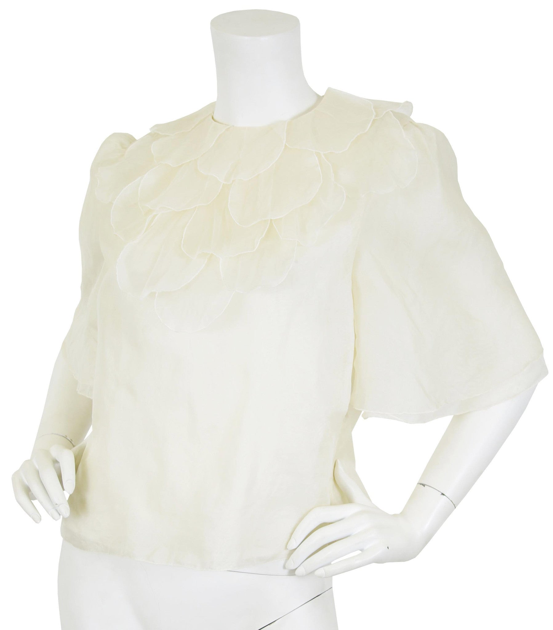 Cream Silk Organza Petal Ruffle Collar Blouse