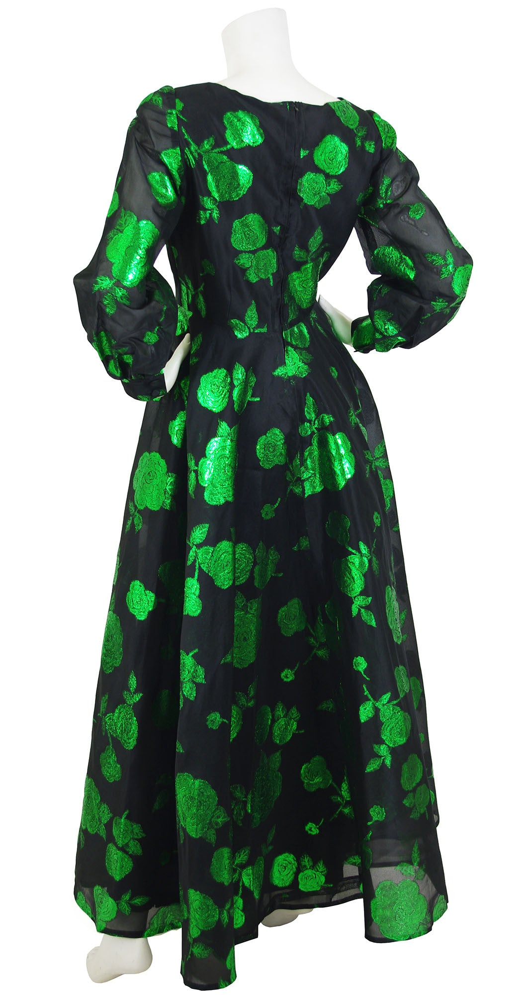 1960s Black Silk Organza & Green Floral Metallic Gown