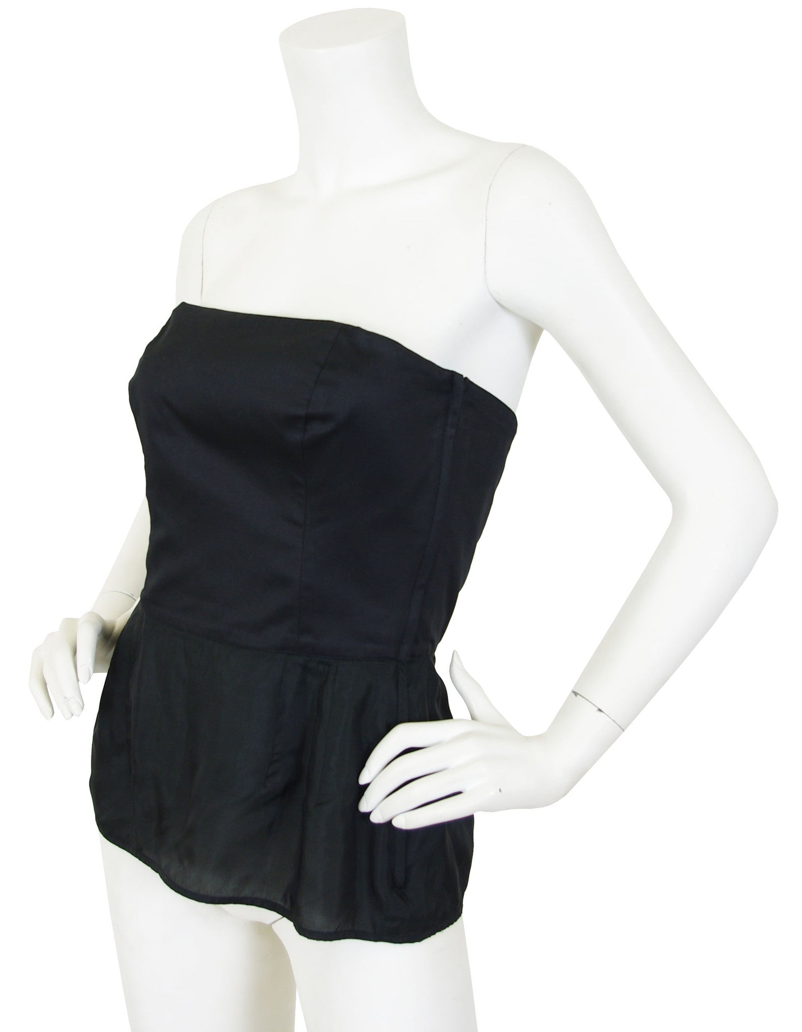 1980s Chic Black Cotton Bustier Top