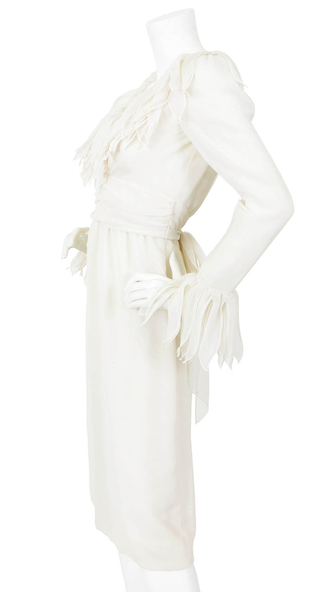 1960s White Voile Feathered Trim Dress