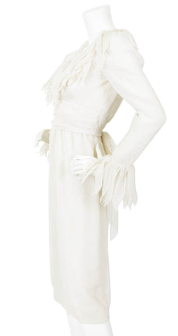 1960's White Voile Feathered Trim Dress