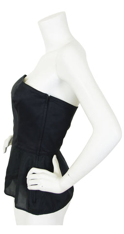 1980's Chic Black Cotton Bustier Top