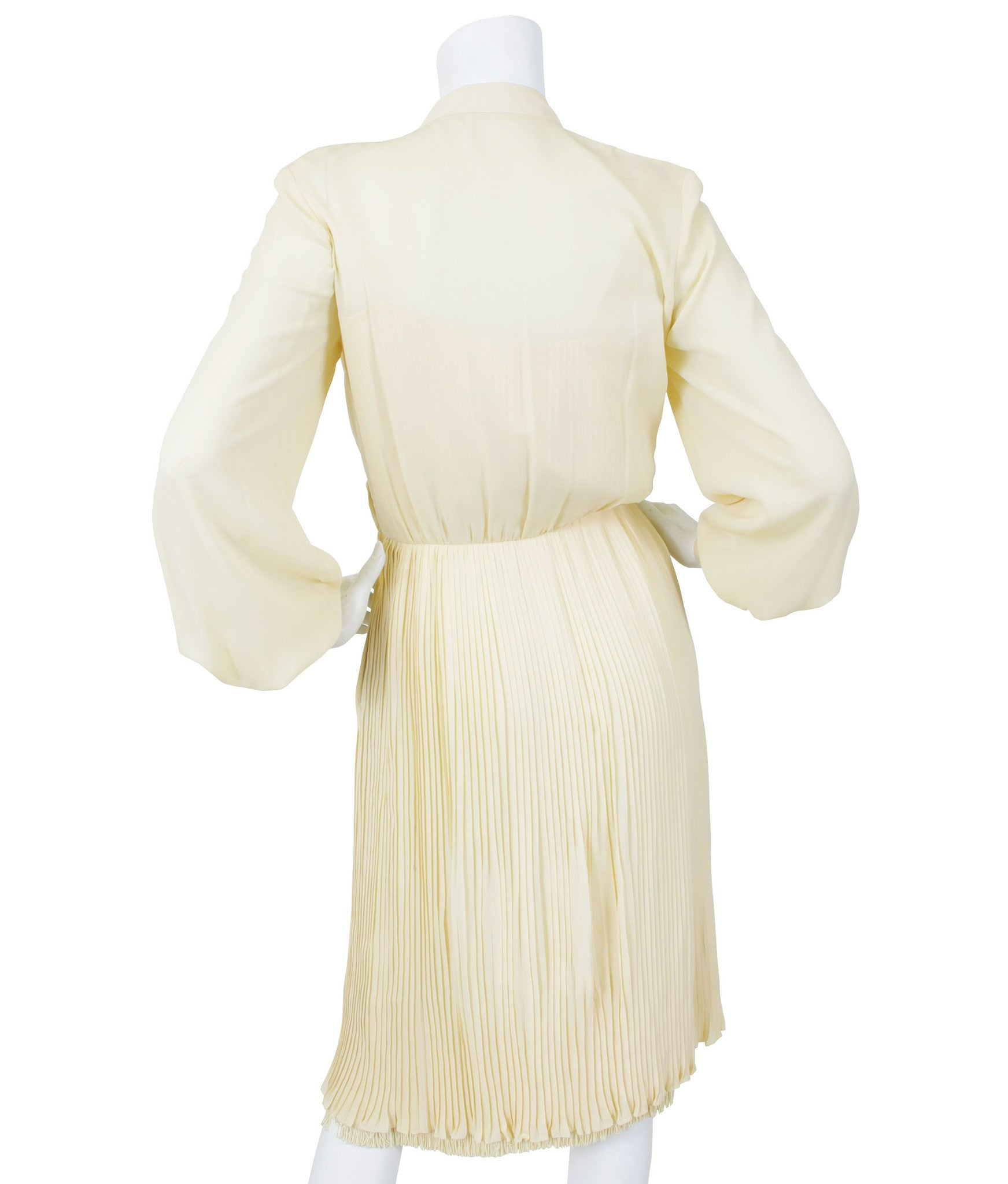 1977 A/W Cream Pleated Silk Fringe Dress