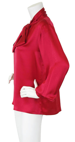 1970's Red Silk Balloon Sleeve Secretary Blouse