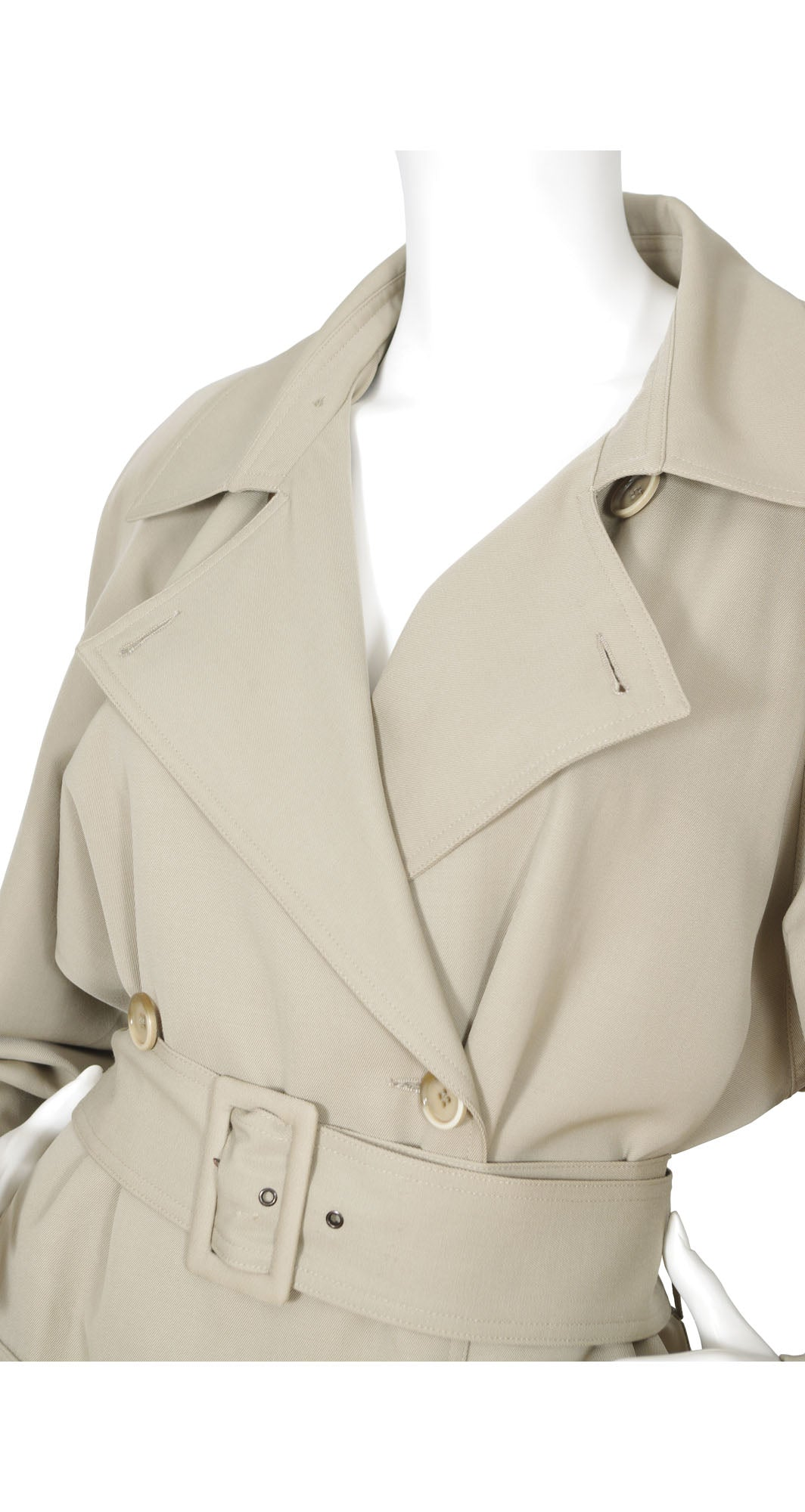 1970s Double Breasted Beige Wool Trench Coat