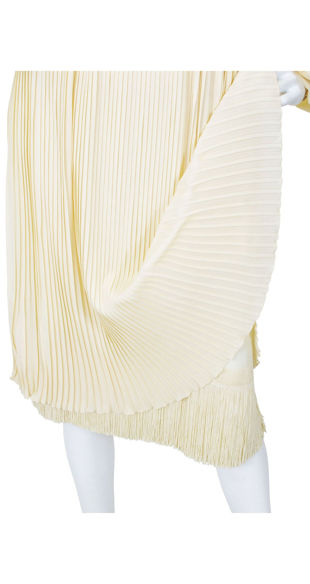 1977 A/W Haute Couture Cream Silk Fringe Dress