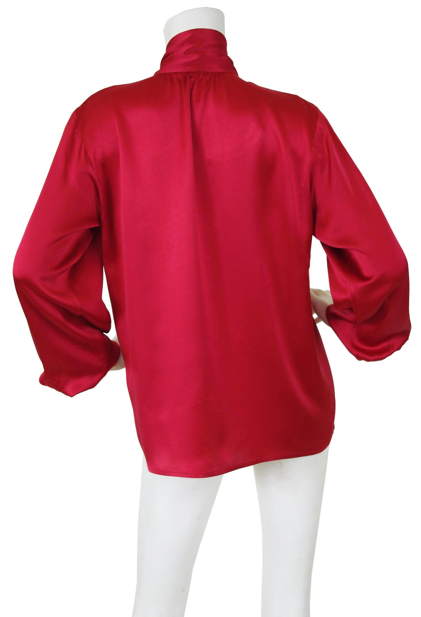1970s Red Silk Balloon Sleeve Secretary Blouse