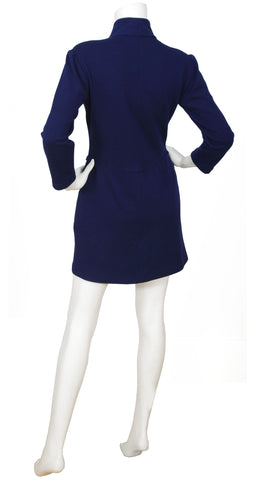 1989 Navy Blue Wool Jersey Mini Dress
