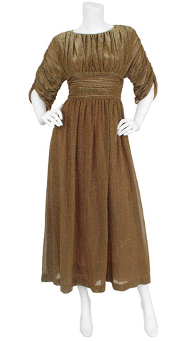 1970's Bronze Lurex Metallic Ruched Evening Dress