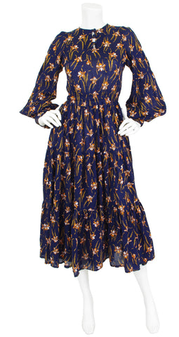 1970's Iris Art Nouveau Navy Cotton Balloon Sleeve Dress