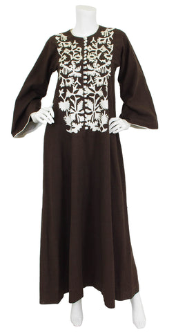 1970's Brown Embroidered Cotton Caftan