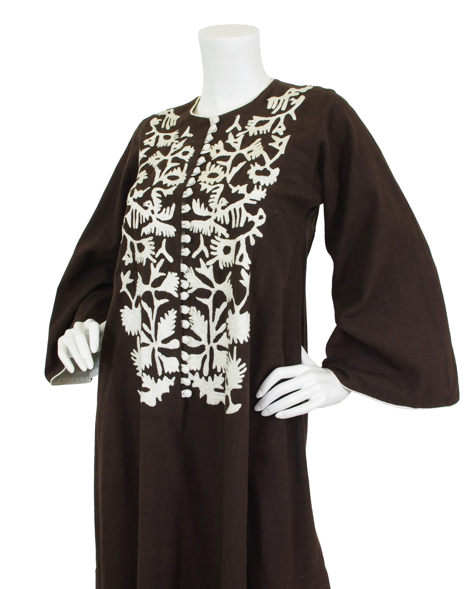 1970s Brown Embroidered Cotton Caftan