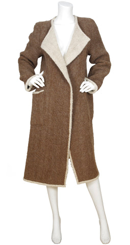 1970s Rare Brown Wool Oversized Blanket Coat