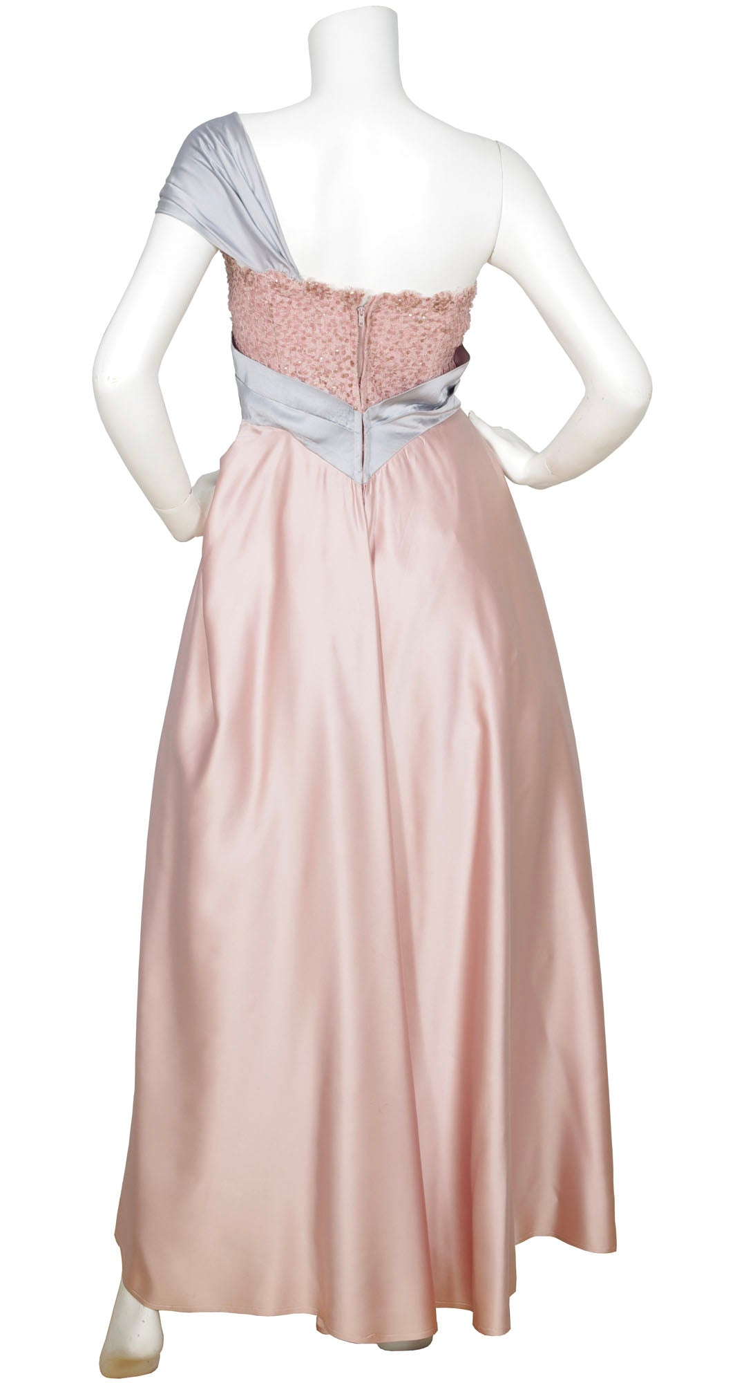 1950s Pink & Blue Satin Gown with Shawl