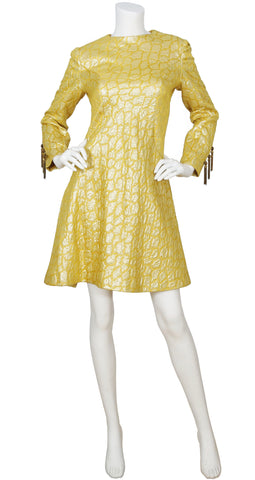 1960s Mod Gold Brocade Tassel Sleeve Cocktail Dress