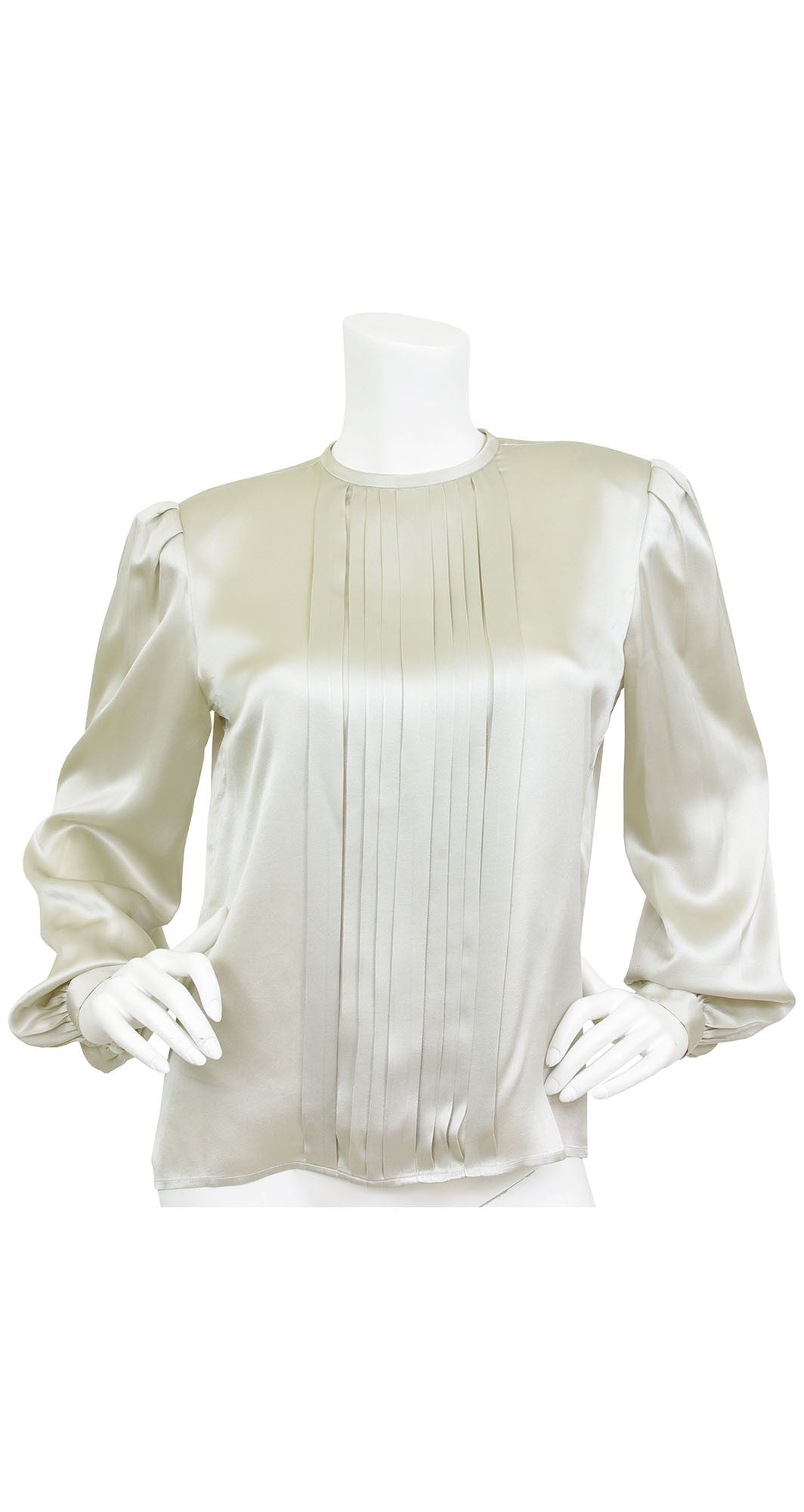 1980's Light Grey Silk Pleated Blouse