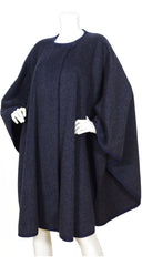 1970s Donna Karan Design Navy Wool Cape