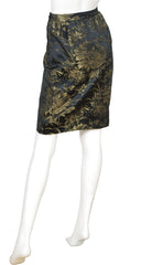 1980s Gold & Black Floral Brocade Pencil Skirt