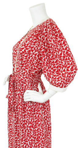 1970's Red & White Silk Two Piece Ensemble