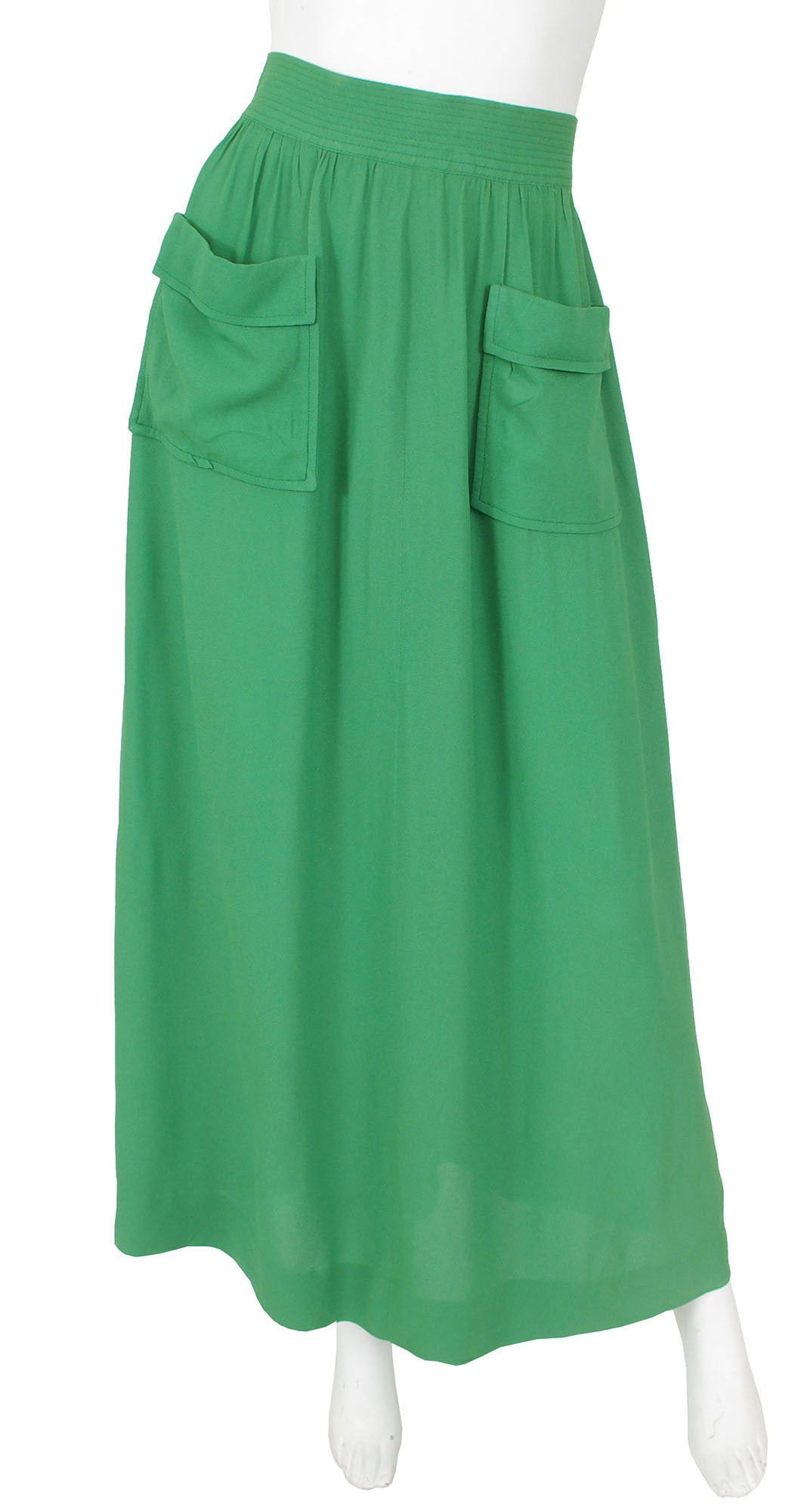 Early 1970's Green Crepe Maxi Skirt